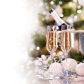 New Year Card Design with Champagne — Stock fotografie