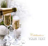 New Year Card Design with Champagne — Stock Photo