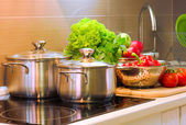 Kitchen Cooking closeup.Diet — Stock Photo