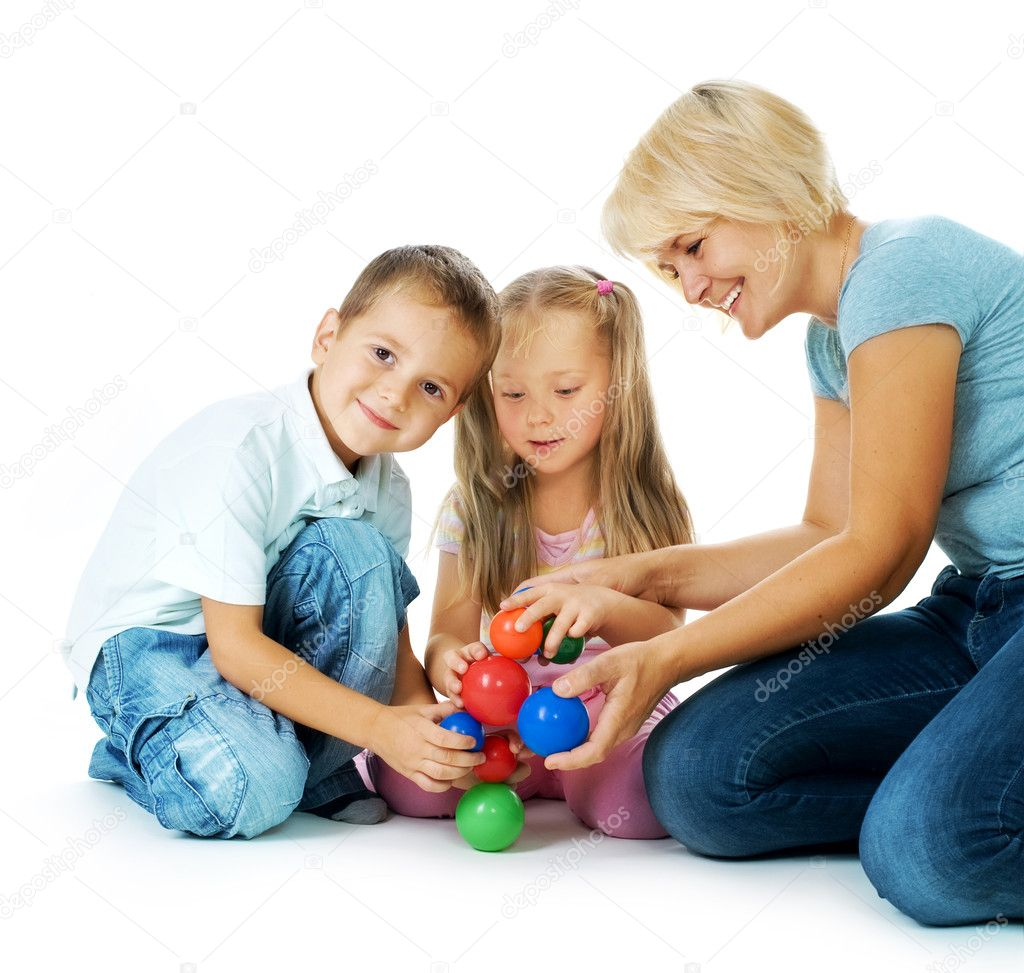 Children playing on the floor.Happy kids.Education. — Stock Photo #10676076