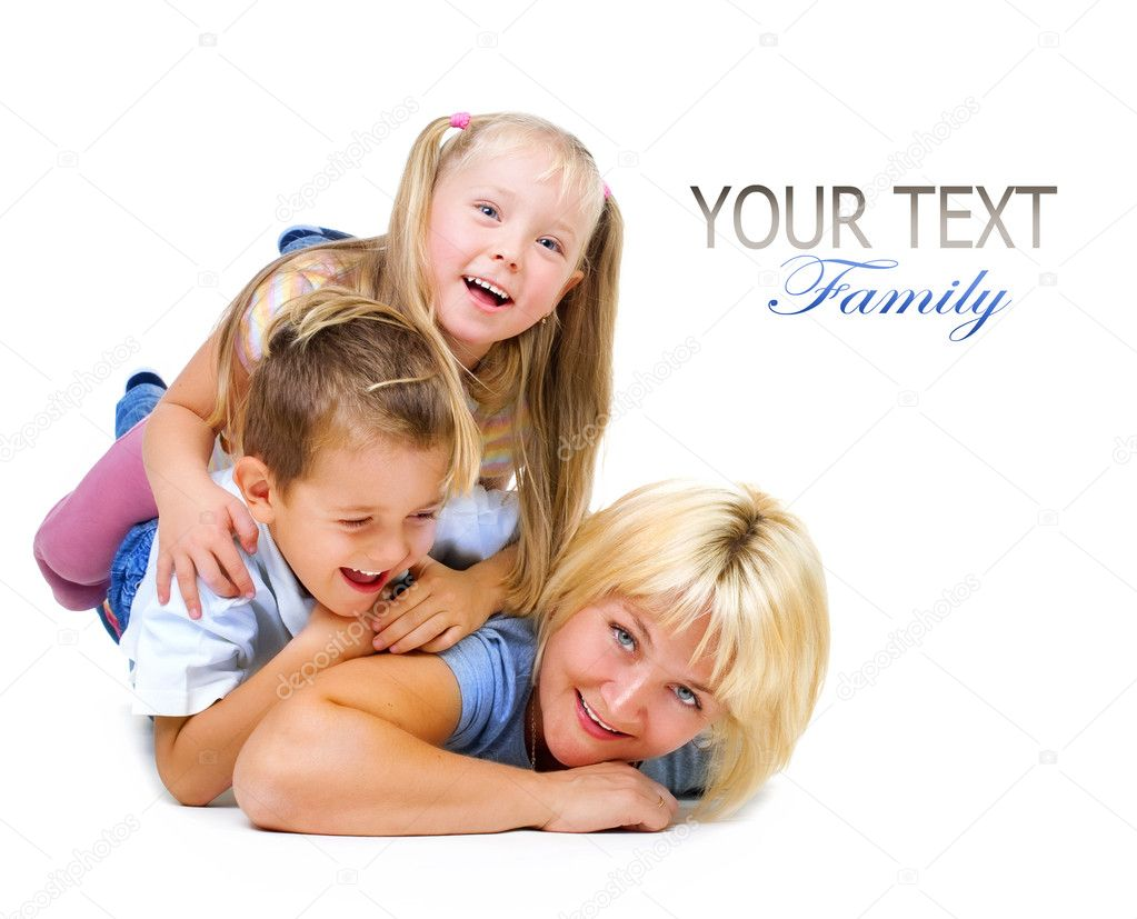Happy Mother with kids having fun — Stock Photo #10676096