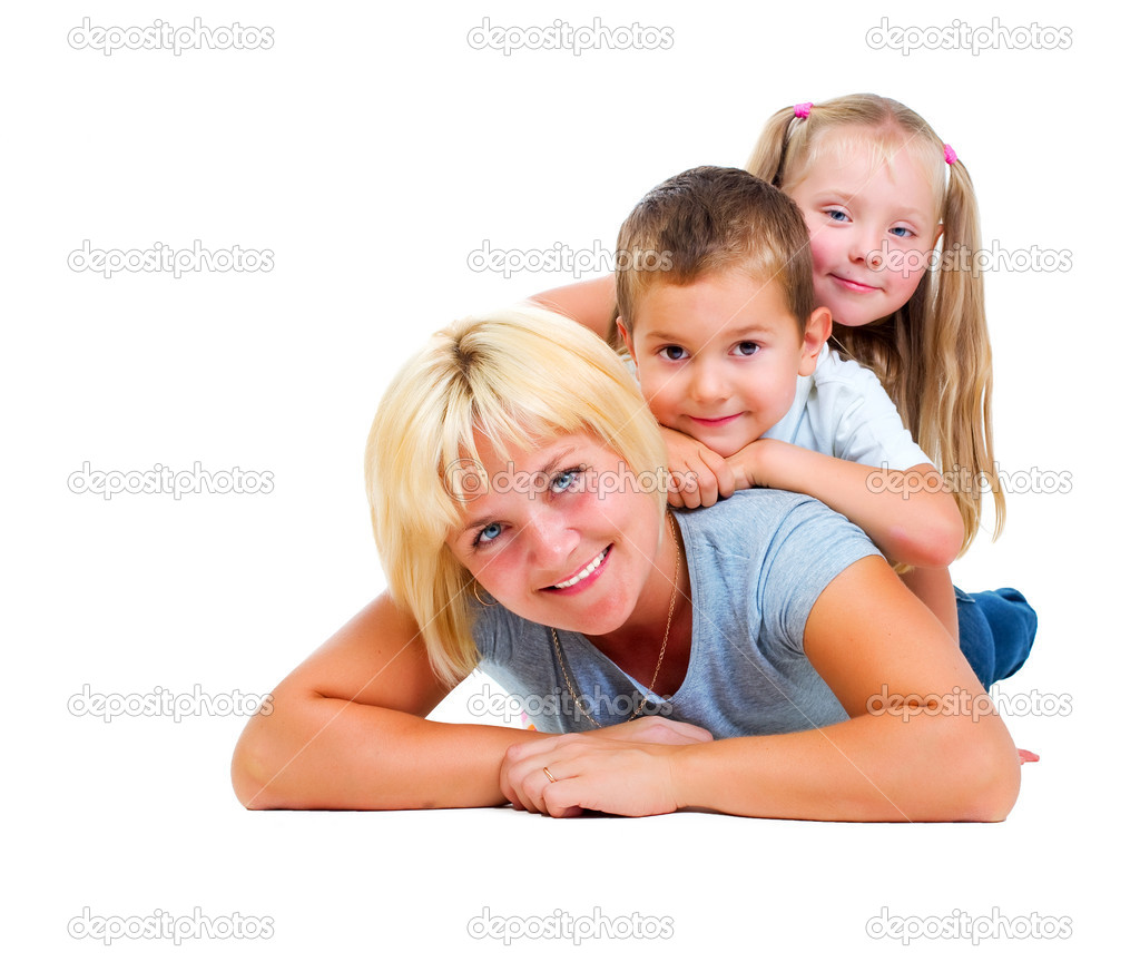 Happy Mother with kids having fun.Isolated on white — Stock Photo #10676100