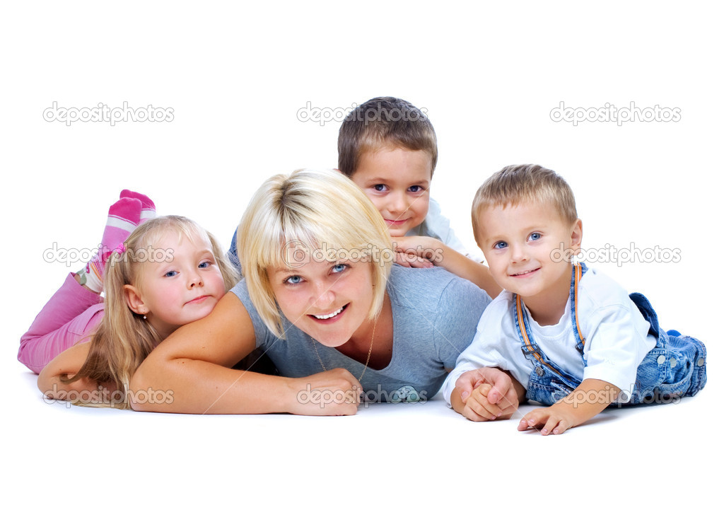 Happy Mother with kids having fun — Stock Photo #10676102