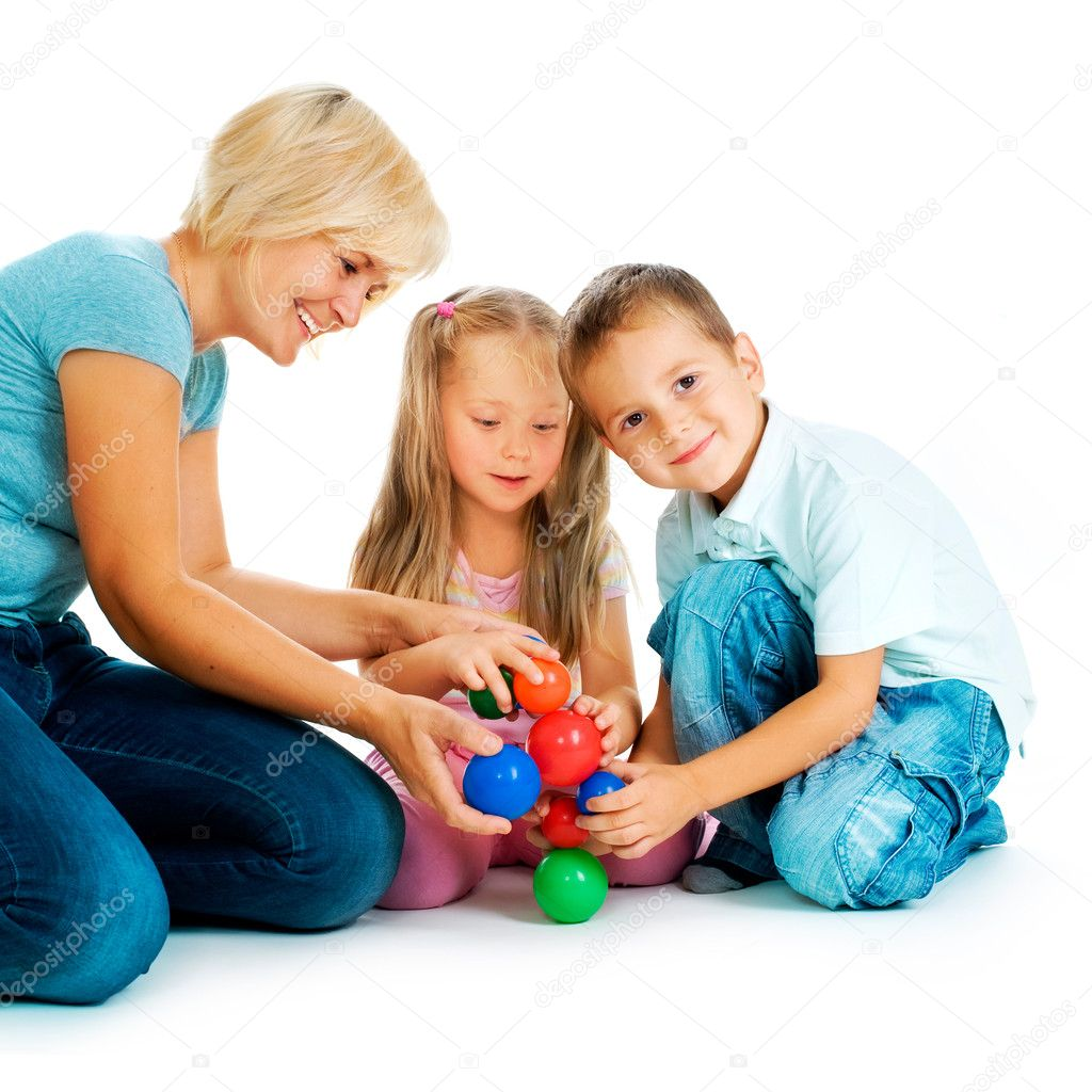 Children playing on the floor educational games for kids stock