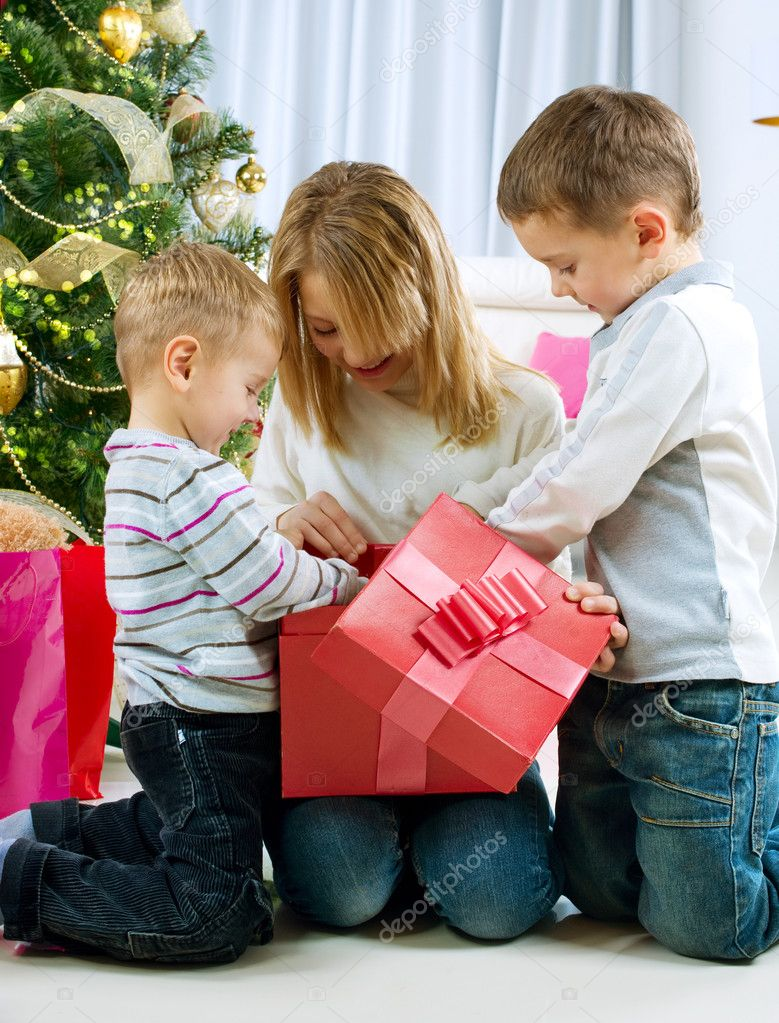 Happy Kids with Christmas Gifts  Stock Photo #10676225