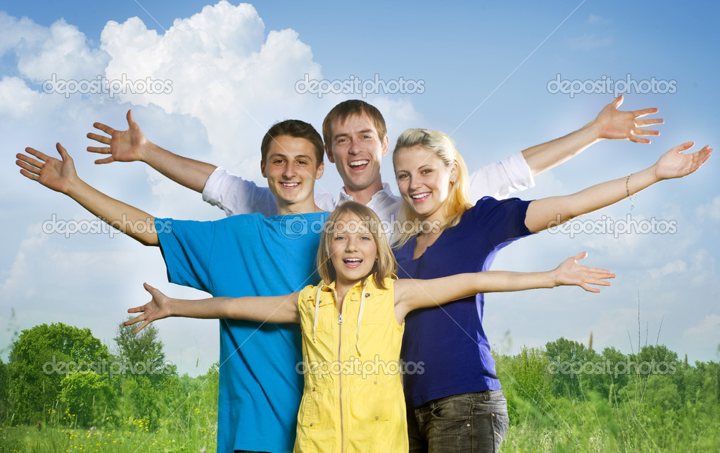 Happy Friends Outdoors  Stock Photo #10676267