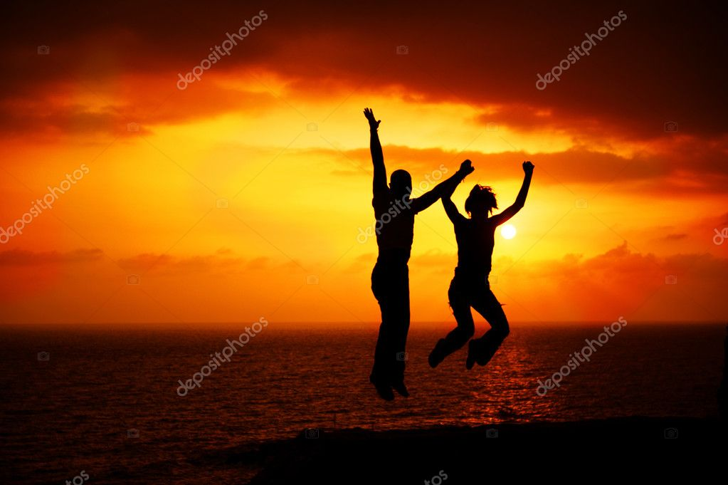 Two Happy Jumping — Stock Photo #10676269