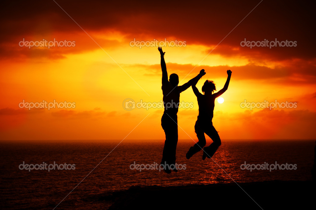Two Happy Jumping  Foto Stock #10676269