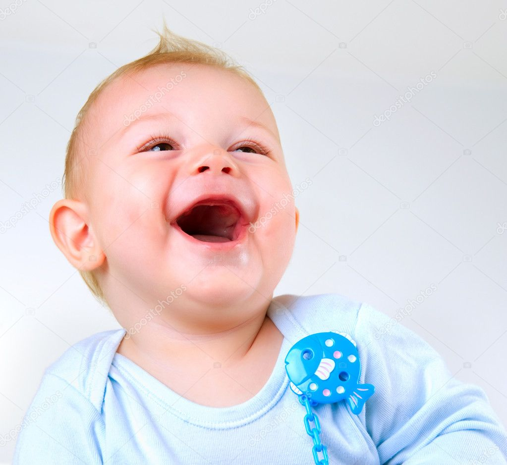 Cute Baby Boy Laughing — Stock Photo #10676348