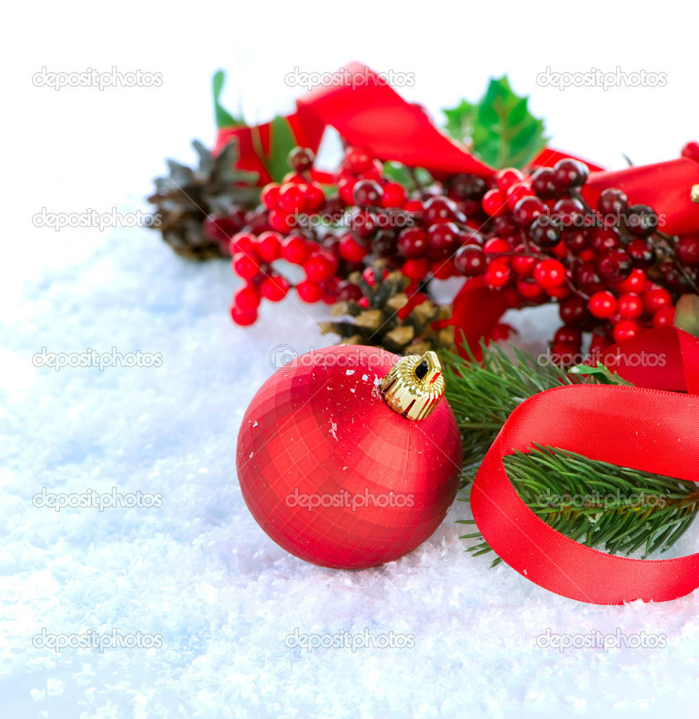 Christmas Decorations isolated on white  Stock Photo #10676776