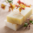 Bar Of Natural Handmade Soap With Herbs — Stock Photo