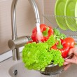 Foto de Stock  : Fresh Vegetables Washing