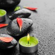 Spa Stones And Candles - Foto Stock