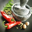 Mortar With Pestle, Herbs And Spices — Stock Photo