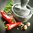 Stock Photo: Mortar With Pestle, Herbs And Spices