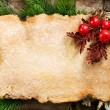 Christmas Background. Blank Old Paper Sheet with Decoration — Stockfoto