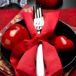 Valentine&amp;#039;s Day Romantic Dinner. Table Setting - Stockfoto
