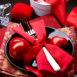 Valentine's Day Romantic Dinner. Table Setting - Stock Photo