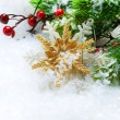 Christmas decorations over Snow background - Stok fotoğraf