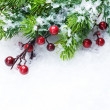 Christmas Tree and Decorations over Snow background — Stock Photo