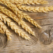 Wheat Ears on Wood . Food Background — Stock Photo #10680880