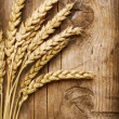 Stock Photo: Wheat Ears on Wood . Food Background