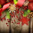 Christmas Vintage decoration border design over old wood background — Stock Photo