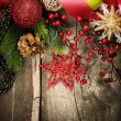 Stock Photo: Christmas Vintage decoration border design over old wood background