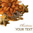 Christmas Decorations border. Isolated on white — Stock Photo