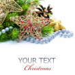 Stock Photo: Christmas Decoration Border design isolated on white