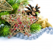 Стоковое фото: Christmas Decoration Border design isolated on white