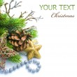 Christmas Decoration border over white — Stock Photo