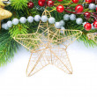Foto Stock: Christmas Decoration Border design isolated on white