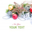 Stock Photo: New Year or Christmas Decorations border over white