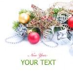 frontera de año nuevo o Navidad decoraciones sobre blanco — Foto de Stock