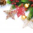 Stock Photo: Christmas border isolated on white