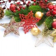 Christmas Decorations border isolated on white — Stock Photo