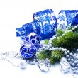 Stockfoto: Christmas Decorations over white