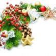 Stock Photo: Christmas corner over white