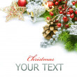 Stock Photo: Christmas decorations border design. Isolated on white
