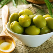 Olives And Pouring Olive Oil — Stockfoto