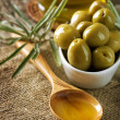 Olives and Virgin Olive Oil — Stok fotoğraf