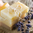 Handmade Soap Closeup And Lavender Flowers — Stock Photo
