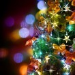 Stock Photo: Christmas Tree Decorated. Over Black