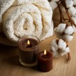 Stock Photo: Cotton Towel And Candles