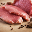 Raw Meat Steaks And Spices - Stock Photo