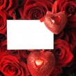 Big Roses Bouquet And Blank Card — Stock Photo