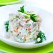 Salad Olivier. Russian traditional salad — Stock Photo