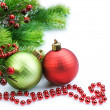 Christmas and New Year Border over white - Stock Photo