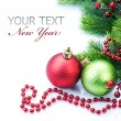 Christmas and New Year Decorations border over white — Stock Photo